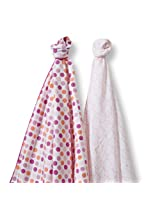 SwaddleDesigns SwaddleDuo, Dots and Hearts Duo, Fuchsia