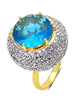 10.60 Grams Blue Glass & White Cubic Zirconia Gold Plated Brass Ring