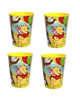 Disney Winnie The Pooh Plastic Cup With Tigger Piglet Eeyore 4 Cups