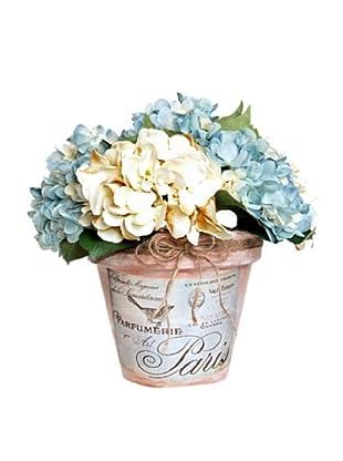 Blue Hydrangea Clay Pot (Blue, Crème, Green)