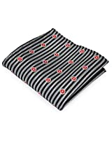 PenSee 100% Silk Woven Silver-Grey & Black Stripe With Cute Red Flower Pocket Square