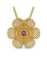 BlueStone Lattice Collection 18k Yellow Gold and Ruby Camellia Pendant