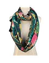 Vozaf Silk / Wool Ant Tublar Print with Pom pom- Green
