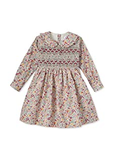 Rachel Riley Girl's Floral Smocked Dress (Purple)