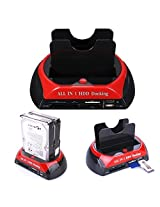 """Cable Hunter 2.5""""/3.5"""" IDE SATA HDD Clone Docking Station +Card Reader - Black & Red - 2 Years Warranty"""