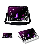 Meffort Inc 17 17.3 Inch Laptop Carrying Sleeve Bag Case - Purple Butterfly Design