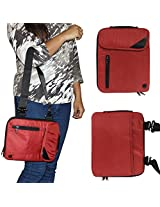 DMG Padwa Lifestyle Shockproof Soft Sleeve Carrying Vertical Messenger Nylon Bag Case with Handle and Shoulder Strap for 10in Tablets/Netbooks/iPad/Android Tablets (Red)