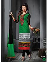 Fabfirki Green and Black Unstitched Cotton Salwar Suit