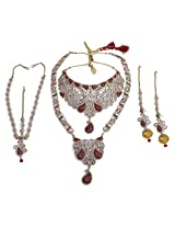 Indian Bollywood Design Crystal Made Exclusive Bridal Necklace Jewelry Set