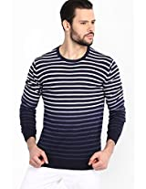 Striped Navy Blue Round Neck Sweater