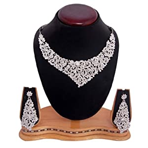 Sukkhi Rhodium-plated Ad Stone Necklace Set
