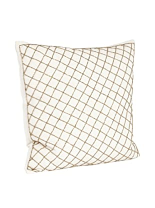 Saro Lifestyle Bronze Diamond Design Beaded Pillow