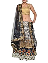 Embellished black net lehenga set