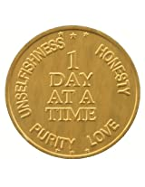 1 Day At A Time Aa Gold Colored Aluminum Sobriety Medallion (Set Of 25) Commemorative