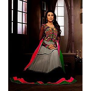 Unstitched Karishma Kapoor Grey & Black Georgette Top With Santoon Bottom & Chiffon Dupatta Heavy Resham Embroidery Work Anarkali Salwar Kameez Suit
