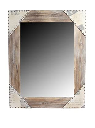 Square Wooden Mirror (Light Brown)