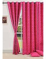EyeLet Magenta Long Door Curtain (1 Pcs Set) Swayam