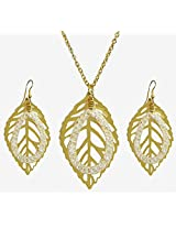 DollsofIndia Golden Metal Chain with Leaf Pendant and Earrings - Metal - Golden