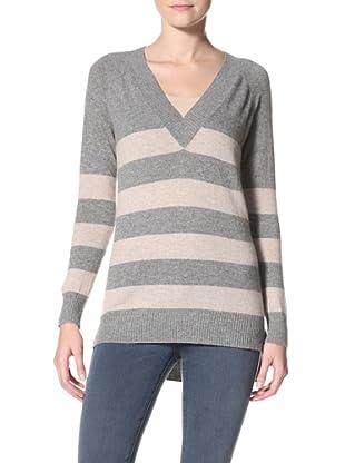 Christopher Fischer Women's V-Neck Stripe Sweater (Grey Heather/Oatmeal Heather)