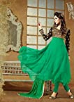 Rozdeal Women Georgette Embroidered Unstitched Longsleeve Green Anarkali Suit