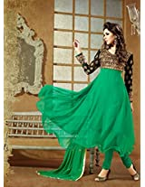 Rozdeal Neck Embroidered Frock Style Green Anarkali Suit