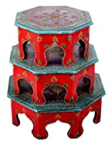 Stylish Stool Wood Violet Hand Painted Floral Stool By Rajrang
