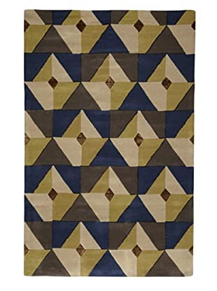 Kabir Handwoven Rugs Contemporary Rug (Brown/Blue/Tan/Ivory)