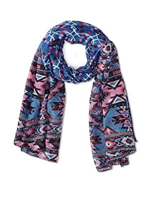 Jules Smith Women's Tribal Scarf, Blue/Pink Multi
