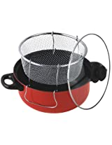 Gourmet Chef 4-1/2-Quart Non-Stick Deep fryer with Frying Basket and Glass Cover