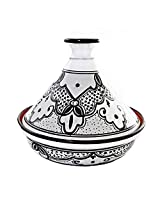 Le Souk Ceramique Cookable Tagine, 12-Inch, Black and White Sabrine Design