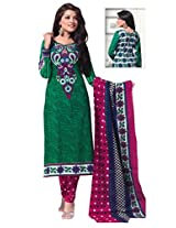 SGC Green & Pink Cotton Printed unstitched churidar kameez (SH-11621)