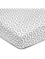 American Baby Company 100% Cotton Percale Fitted Crib Sheet, Gray Honeycomb