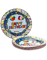 Karmallys Printed Paper Plates Happy Birthday Balloons Print - 19 cm