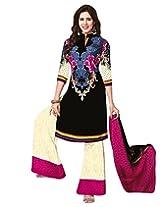 Jevi Prints Art Crepe Beige & Multicolor Dress Material with Dupatta