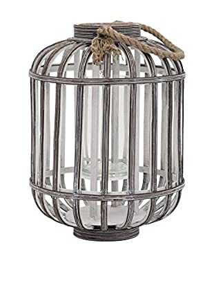 Small Jute Wood Lantern, Antique