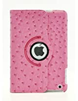 LiViTech(TM) Ostrich Design Series 360 Rotating PU Leather Case Smart Cover for Apple iPad Mini (Hot Pink)