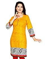 Black kite Women's Poly Crepe Long Kurti (K0305-XL_Yellow_X-Large)