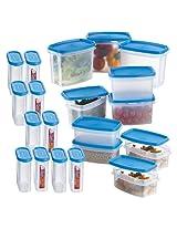 Prime Housewares Airtight Modular Kitchen Food Storage Containers (20 Pcs Set) Blue color (9041_B)