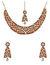 Voylla Orange Zircons Studded Maagtika Necklace Set