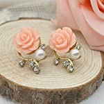 Pink Flower Shiny Crystal Pearl Stud Earrings