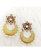 Vidhi Semi Precious Champaign Stone with Pearl in Matt Finish Chandbali Earrings