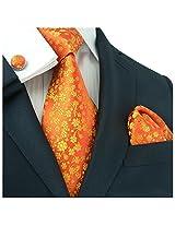 """Landisun 661 Floral Pattern Mens Silk Tie Set: Tie+Hanky+Cufflinks Bright Orange, 3.25""""Wx59""""L"""