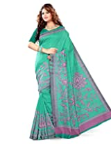 Sangam Saree Womens C Green Bhagalpuri Print Saree