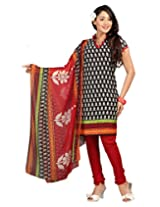 Lookslady Printed Black Crepe Salwar Suit