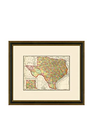 Antique Lithographic Map of Texas 1886-1899