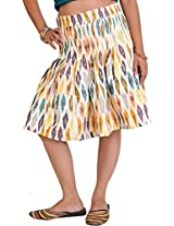 Exotic India Snow-White Short Pleated Skirt from Pochampally with Ikat W - White
