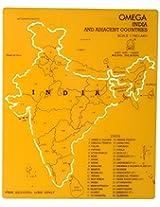 Omega 1660 Plastic India Map Stencil (Set of 5, 19 cm x 15.5 cm x 0.5 cm, Yellow)