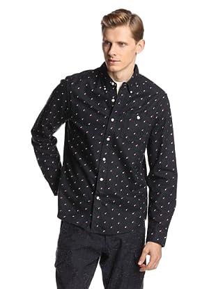 Burkman Bros Men's Tab Placket Printed Flannel Shirt (Navy Axe Print)