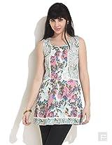 Paisley Floral Lace Trim Kurti-Pink-L