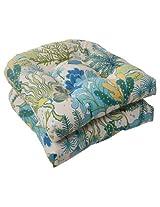 Pillow Perfect Indoor/Outdoor Splish Splash Wicker Seat Cushion, Blue, Set of 2